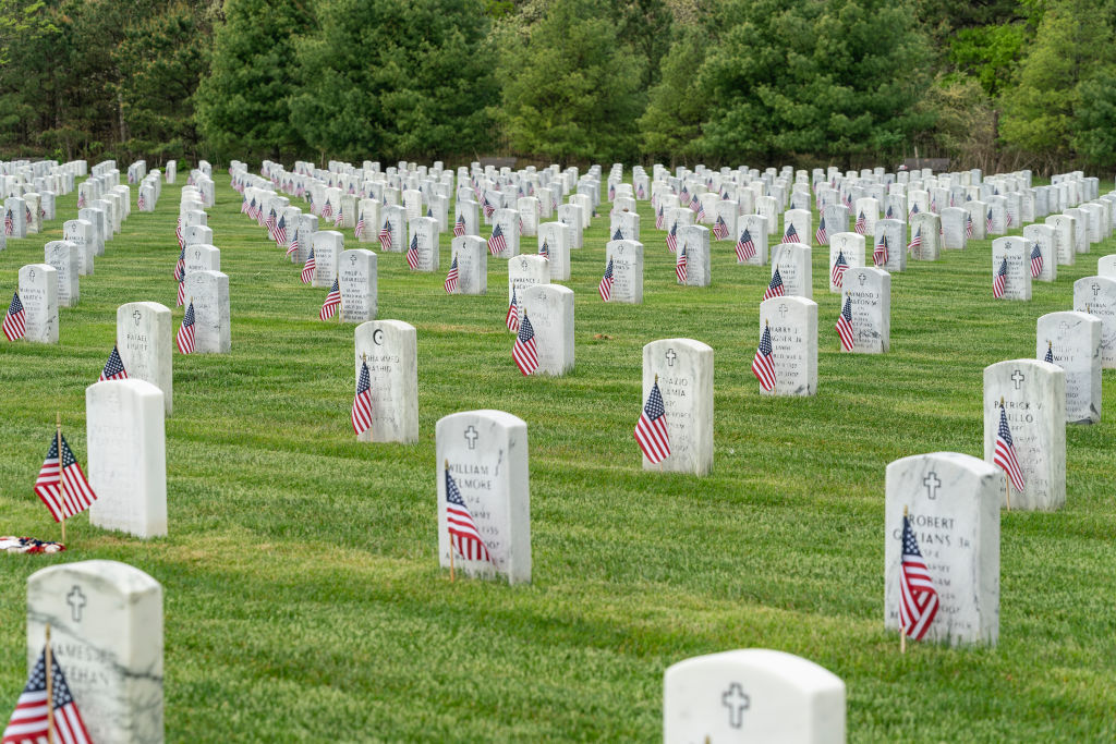 RIVERHEAD, NEW YORK, UNITED STATES - 2020/05/23: View of Calverton National Cemetery for veterans during Memorial Day weekend. Veterans of all confessions Christians, Jewish, Muslim buried on this cemetery. Veterans of all wars have been buried there. (Photo by Lev Radin/Pacific Press/LightRocket via Getty Images)